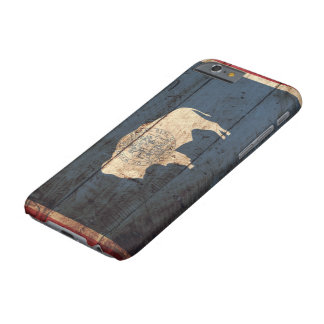 Wyoming State Flag on Old Wood Grain Barely There iPhone 6 Case