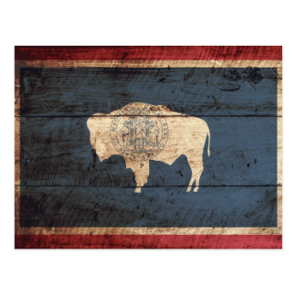 Wyoming State Flag on Old Wood Grain Postcard