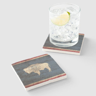 Wyoming State Flag on Old Wood Grain Stone Coaster