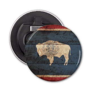 Wyoming State Flag on Old Wood Grain Button Bottle Opener