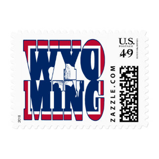 Wyoming state flag text postage