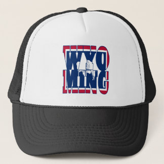 Wyoming state  flag text trucker hat