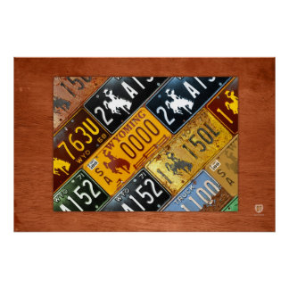 Wyoming State License Plate Map by Design Turnpike Poster