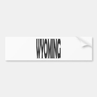 Wyoming State Name Word Art Black Car Bumper Sticker
