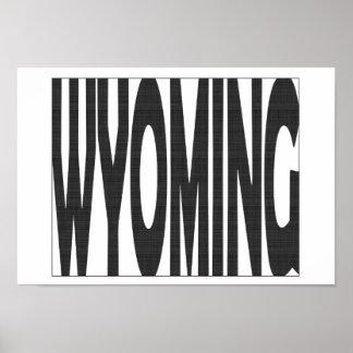 Wyoming State Name Word Art Black Poster