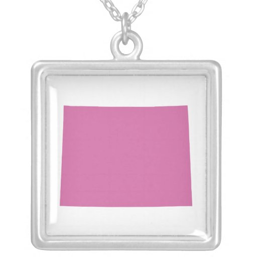 Wyoming State Outline Square Pendant Necklace