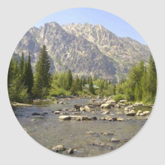 WYOMING - TETONS CLASSIC ROUND STICKER
