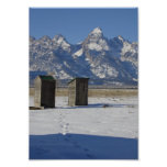 Wyoming Tetons Outhouse Deluxe Poster