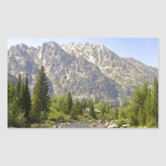 WYOMING - TETONS RECTANGULAR STICKER