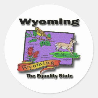 Wyoming The Equality State Bird Dear Bush Classic Round Sticker