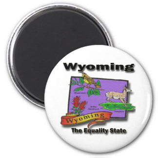 Wyoming The Equality State Bird Dear Bush Magnet