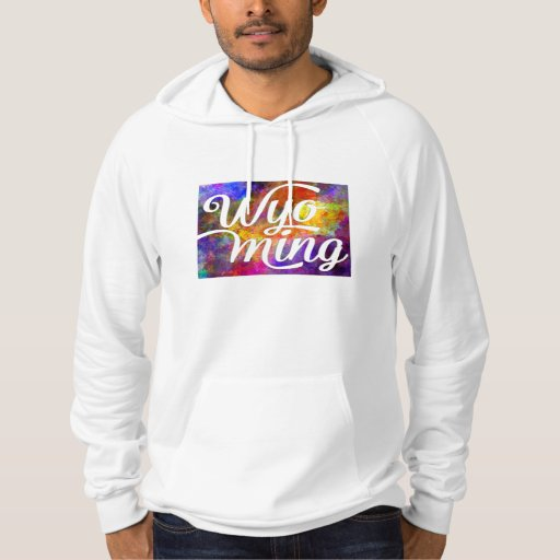 Wyoming U.S. State in watercolor text cut out Hooded Pullover