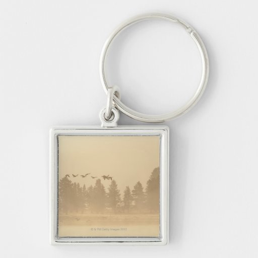 Wyoming, USA Silver-Colored Square Keychain