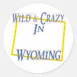 Wyoming - Wild and Crazy Round Sticker