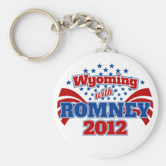 Wyoming with Romney 2012 Basic Round Button Keychain