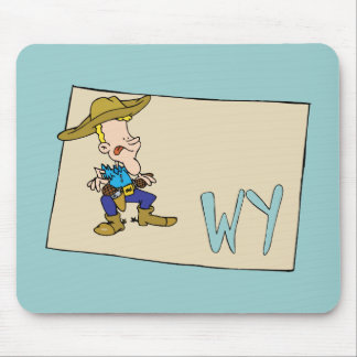 Wyoming WY Cartoon Map with a fun Wyoming Cowboy Mouse Pad