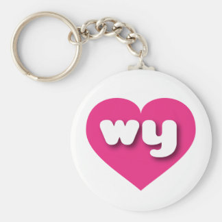 Wyoming wy hot pink heart basic round button keychain