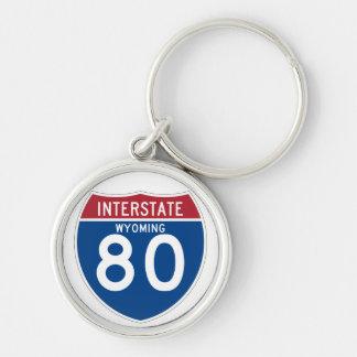 Wyoming WY I-80 Interstate Highway Shield - Keychain