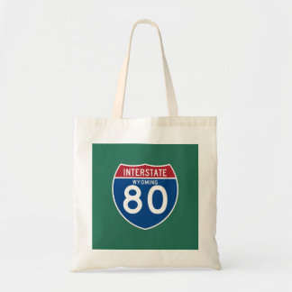 Wyoming WY I-80 Interstate Highway Shield - Tote Bag