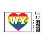 Wyoming WY rainbow pride heart Postage