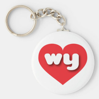 Wyoming wy red heart basic round button keychain