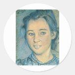 Wyspianski, cabeza de un chica, 1898 pegatina redonda