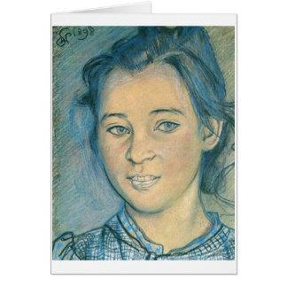 Wyspianski, cabeza de un chica, 1898 tarjeta pequeña