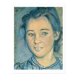 Wyspianski, cabeza de un chica, 1898 postal