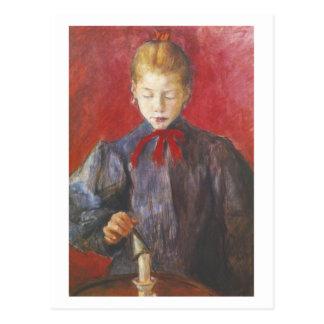 Wyspianski, chica que extingue una vela, 1893 tarjeta postal