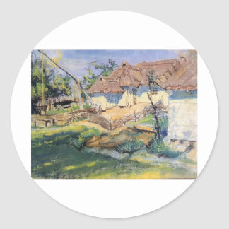 Wyspianski, choza en Grebow, 1900 (1) Pegatina Redonda