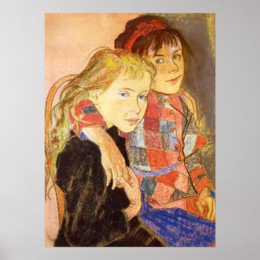 Wyspianski, dos chicas, 1894 póster