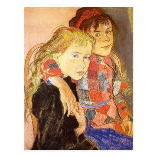 Wyspianski, dos chicas, 1894 postal