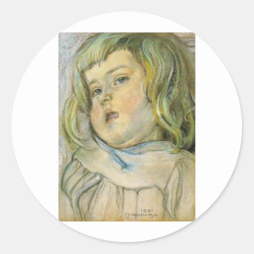 Wyspianski, estudio de un niño, 1901 pegatinas redondas