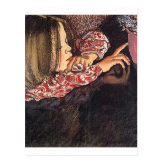 Wyspianski, Helenka con un florero de Flowers, Postal