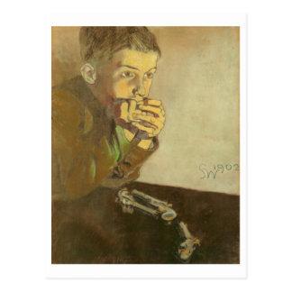 Wyspianski, muchacho con Pistols, 1902 Postal