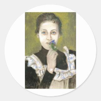 Wyspianski, Portrait of a Girl with Violets, 1896 Classic Round Sticker