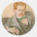Wyspianski, retrato de José Mehoffer, 1898 Etiquetas Redondas