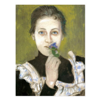 Wyspianski, retrato de un chica con las violetas, postal