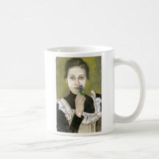 Wyspianski, retrato de un chica con las violetas,  taza básica blanca