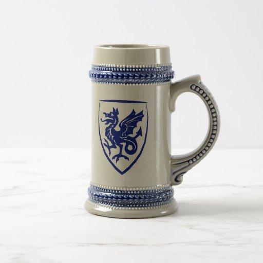 Wyver/cerveza Stein del escudo de armas del dragón Tazas De Café