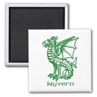 Wyvern medieval heraldry 2 inch square magnet