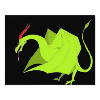 Wyvern on black personalized invitations