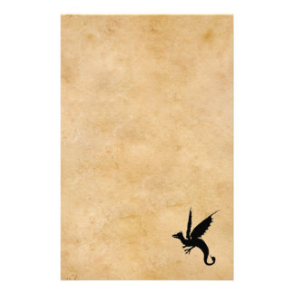 Wyvern on old parchment stationery