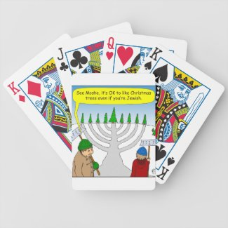 x04 Jews like Christmas too - cartoon Bicycle Playing Cards