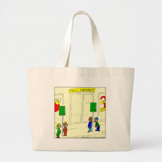 x09 Child care parking at mall cartoon Large Tote Bag
