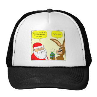 x20 Santa meets the Easter Bunny - Cartoon Trucker Hat