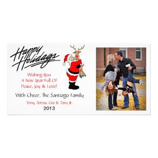 X2 Santa Rudolph Christmas Photo Cards