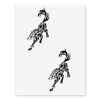 x2 the wolf temporary tattoo