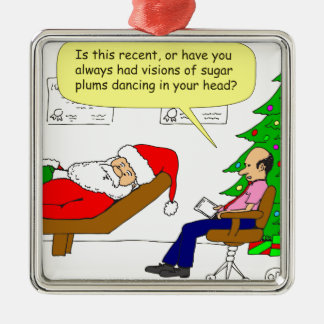x30 Santa talks to his therapist - Cartoon Metal Ornament