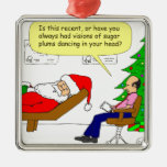 x30 Santa talks to his therapist - Cartoon Square Metal Christmas Ornament